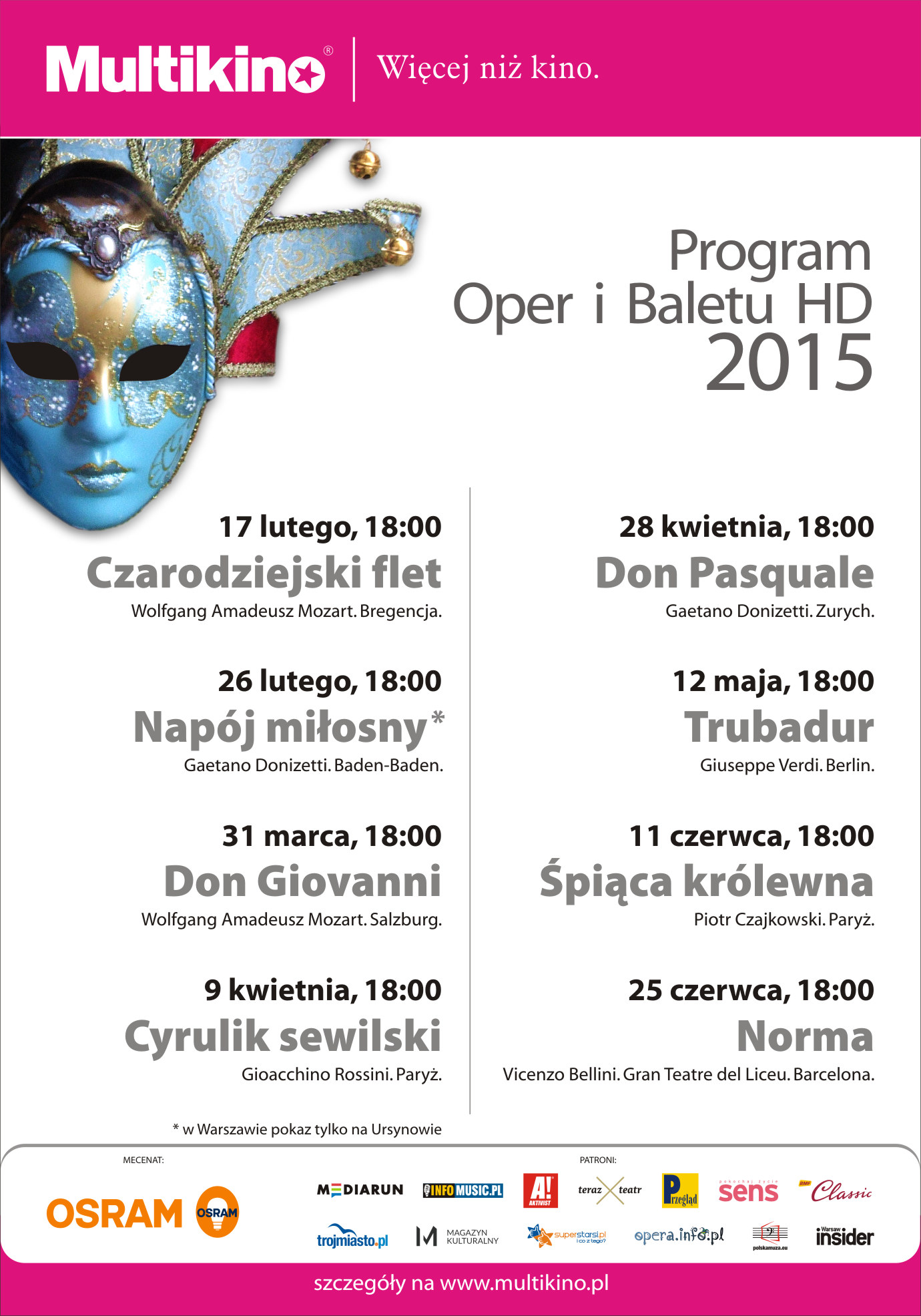 Program retransmisji Oper i Baletu 2015 w Multikinie_Plakat